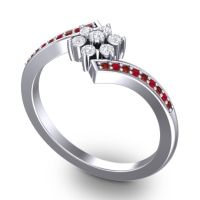Simple Floral Pave Utpala Diamond Ring with Garnet and Ruby in Palladium
