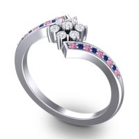 Simple Floral Pave Utpala Diamond Ring with Pink Tourmaline and Blue Sapphire in 18k White Gold