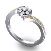 Simple Floral Pave Utpala Diamond Ring with Pink Tourmaline and Peridot in 18k White Gold
