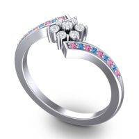 Simple Floral Pave Utpala Diamond Ring with Pink Tourmaline and Swiss Blue Topaz in 14k White Gold