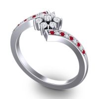Simple Floral Pave Utpala Diamond Ring with Ruby in Platinum
