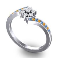 Simple Floral Pave Utpala Diamond Ring with Swiss Blue Topaz and Citrine in Palladium