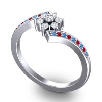Simple Floral Pave Utpala Diamond Ring with Swiss Blue Topaz and Ruby in 18k White Gold