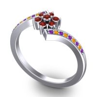 Simple Floral Pave Utpala Garnet Ring with Amethyst and Citrine in Platinum