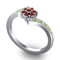 Simple Floral Pave Utpala Garnet Ring with Aquamarine and Peridot in Platinum