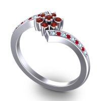 Simple Floral Pave Utpala Garnet Ring with Aquamarine and Ruby in 18k White Gold