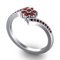 Simple Floral Pave Utpala Garnet Ring with Black Onyx in Palladium