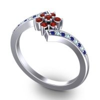 Simple Floral Pave Utpala Garnet Ring with Blue Sapphire and Aquamarine in 18k White Gold