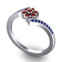 Simple Floral Pave Utpala Garnet Ring with Blue Sapphire in 14k White Gold