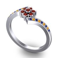 Simple Floral Pave Utpala Garnet Ring with Blue Sapphire and Citrine in 18k White Gold
