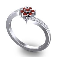 Simple Floral Pave Utpala Garnet Ring with Diamond in 18k White Gold