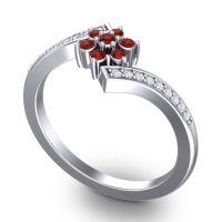 Simple Floral Pave Utpala Garnet Ring with Diamond in Palladium