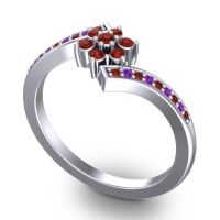 Simple Floral Pave Utpala Garnet Ring with Amethyst in 14k White Gold