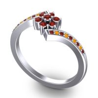 Simple Floral Pave Utpala Garnet Ring with Citrine in Platinum