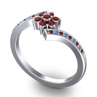 Simple Floral Pave Utpala Garnet Ring with Swiss Blue Topaz in Platinum