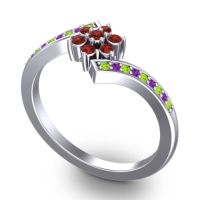 Simple Floral Pave Utpala Garnet Ring with Peridot and Amethyst in Palladium