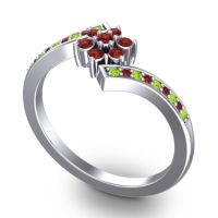 Simple Floral Pave Utpala Garnet Ring with Peridot in Palladium