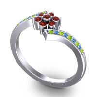 Simple Floral Pave Utpala Garnet Ring with Peridot and Swiss Blue Topaz in 14k White Gold
