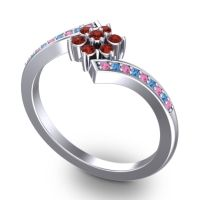 Garnet Simple Floral Pave Utpala Ring with Pink Tourmaline and Swiss Blue Topaz in Palladium