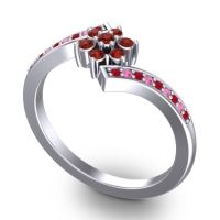 Simple Floral Pave Utpala Garnet Ring with Ruby and Pink Tourmaline in Platinum