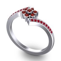 Simple Floral Pave Utpala Garnet Ring with Ruby in Platinum