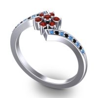 Simple Floral Pave Utpala Garnet Ring with Swiss Blue Topaz and Black Onyx in 14k White Gold