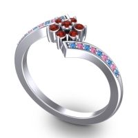 Simple Floral Pave Utpala Garnet Ring with Swiss Blue Topaz and Pink Tourmaline in Palladium