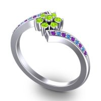 Simple Floral Pave Utpala Peridot Ring with Amethyst and Swiss Blue Topaz in 14k White Gold
