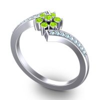 Peridot Simple Floral Pave Utpala Ring with Aquamarine in Platinum