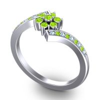 Simple Floral Pave Utpala Peridot Ring with Aquamarine in 14k White Gold