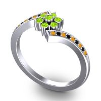 Simple Floral Pave Utpala Peridot Ring with Citrine and Black Onyx in 14k White Gold