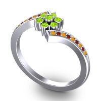 Simple Floral Pave Utpala Peridot Ring with Citrine and Garnet in 18k White Gold