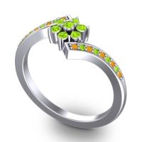 Simple Floral Pave Utpala Peridot Ring with Citrine in 14k White Gold