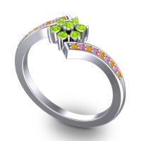 Simple Floral Pave Utpala Peridot Ring with Citrine and Pink Tourmaline in Platinum