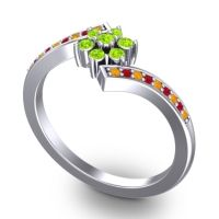 Simple Floral Pave Utpala Peridot Ring with Citrine and Ruby in Platinum