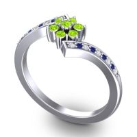 Simple Floral Pave Utpala Peridot Ring with Diamond and Blue Sapphire in Platinum