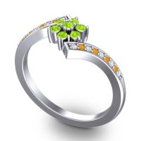 Simple Floral Pave Utpala Peridot Ring with Diamond and Citrine in Platinum