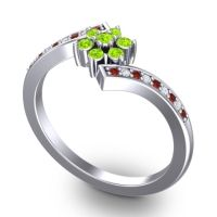 Simple Floral Pave Utpala Peridot Ring with Garnet and Diamond in 18k White Gold