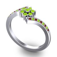 Simple Floral Pave Utpala Peridot Ring with Garnet in 14k White Gold