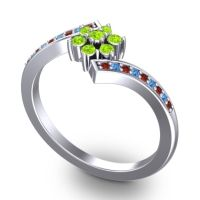 Simple Floral Pave Utpala Peridot Ring with Garnet and Swiss Blue Topaz in 14k White Gold