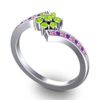 Simple Floral Pave Utpala Peridot Ring with Pink Tourmaline and Amethyst in Platinum