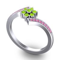 Peridot Simple Floral Pave Utpala Ring with Pink Tourmaline in 14k White Gold