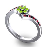 Simple Floral Pave Utpala Peridot Ring with Ruby and Black Onyx in 14k White Gold