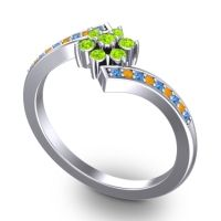 Simple Floral Pave Utpala Peridot Ring with Swiss Blue Topaz and Citrine in 14k White Gold