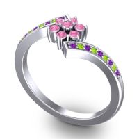 Simple Floral Pave Utpala Pink Tourmaline Ring with Amethyst and Peridot in 18k White Gold
