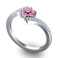 Simple Floral Pave Utpala Pink Tourmaline Ring with Aquamarine in Platinum
