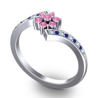 Simple Floral Pave Utpala Pink Tourmaline Ring with Aquamarine and Blue Sapphire in 18k White Gold