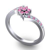 Pink Tourmaline Simple Floral Pave Utpala Ring with Aquamarine in Platinum