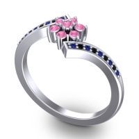 Simple Floral Pave Utpala Pink Tourmaline Ring with Blue Sapphire and Black Onyx in 14k White Gold