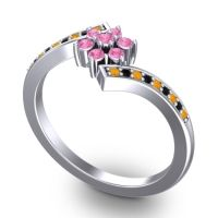 Simple Floral Pave Utpala Pink Tourmaline Ring with Citrine and Black Onyx in 18k White Gold